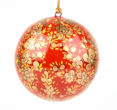 Orange Paper Mache Hanging Balls Christmas Ornaments Handmade Colorful