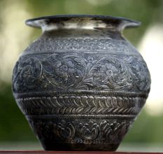 Brass Water Pot With Engraved Abstract Floral And Animal Design