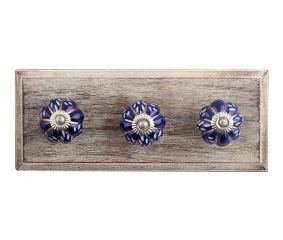 Royal Blue Engraved Melon Ceramic Wooden Hooks