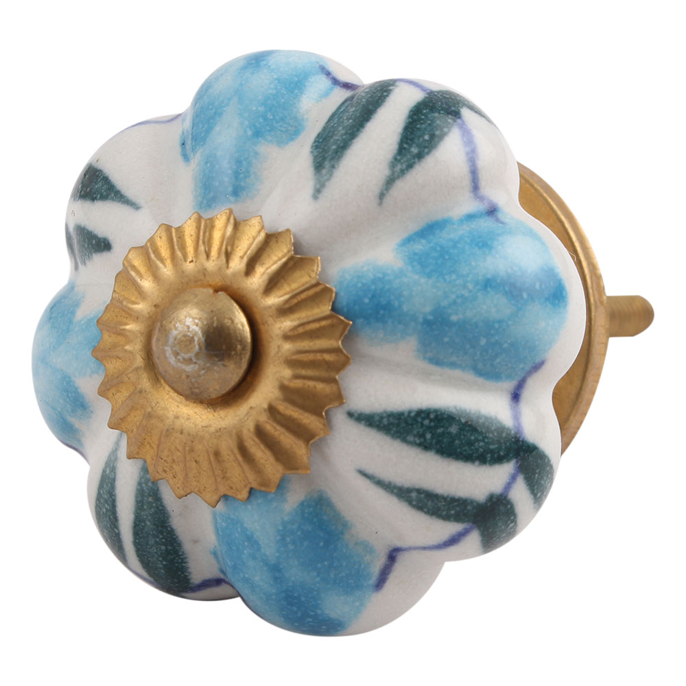 Ceramic Melon Cabinet Knob with a Floral Pattern in Teal and Brown