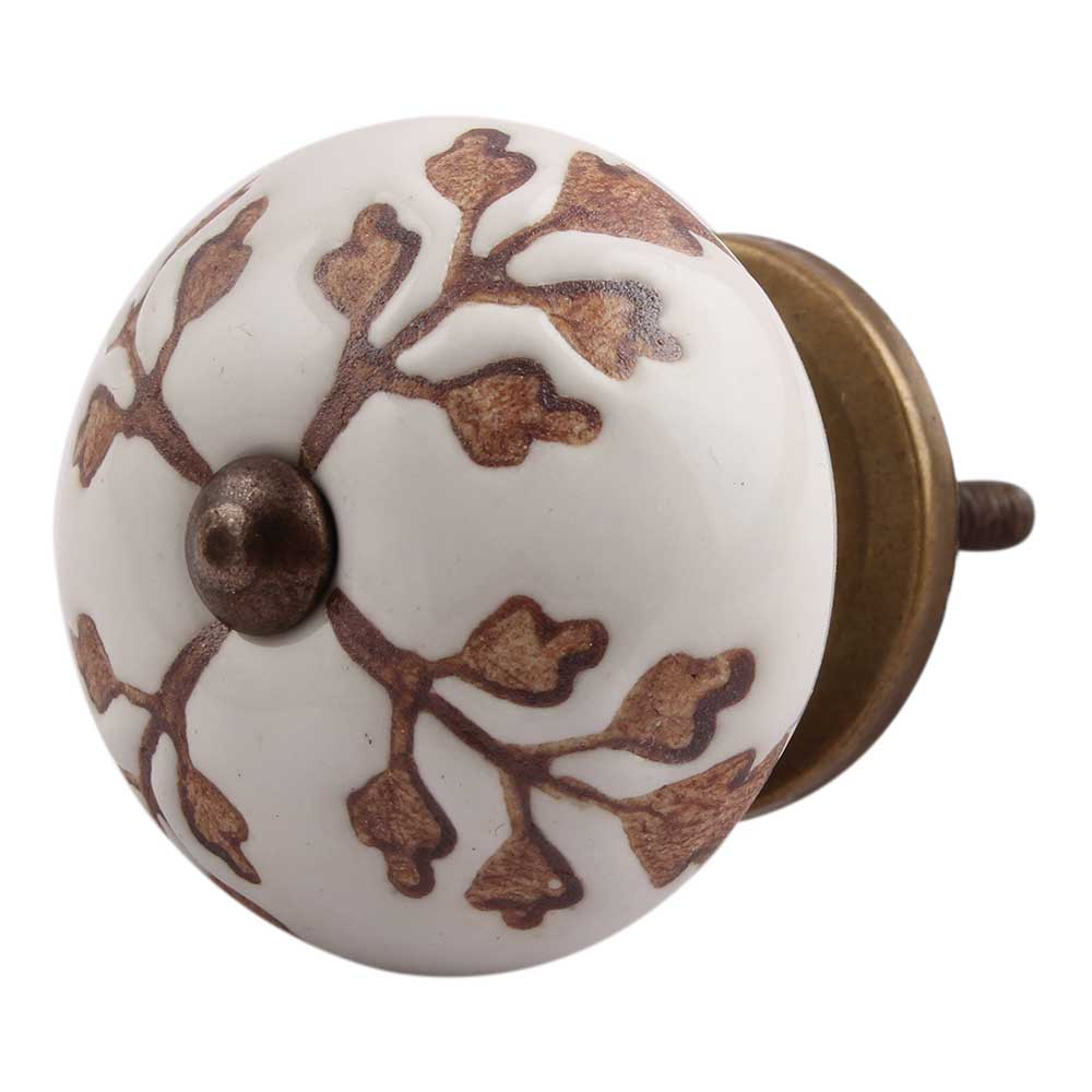 Brown Leaf Cut Flower Etched Ceramic Drawer Knob