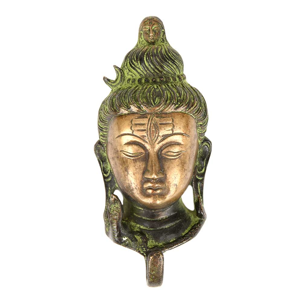 Green Brass Statue and Wall Hooks of Lord Shiva Face Sculpture