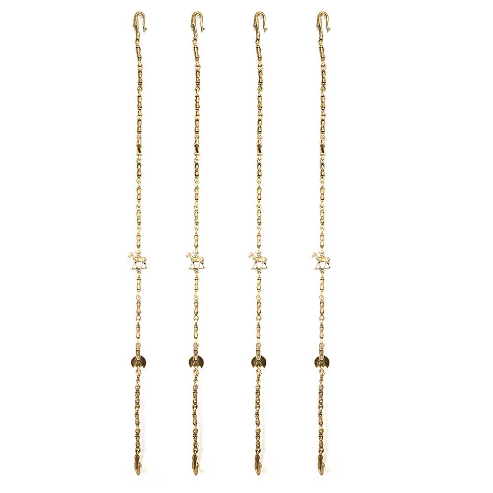 Horse Peacock and Elephant  Brass Swing Chain(Set Of 4 Pieces)