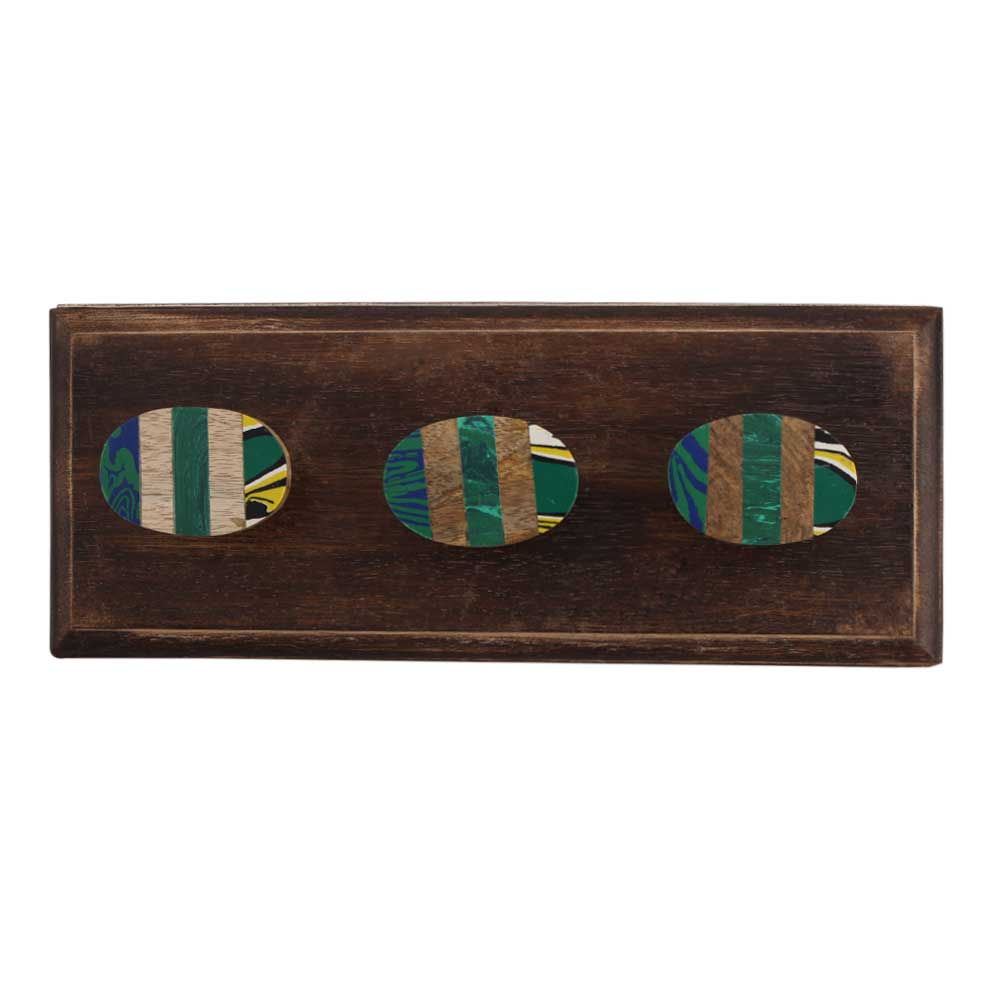 Green Oval Wooden Hooks