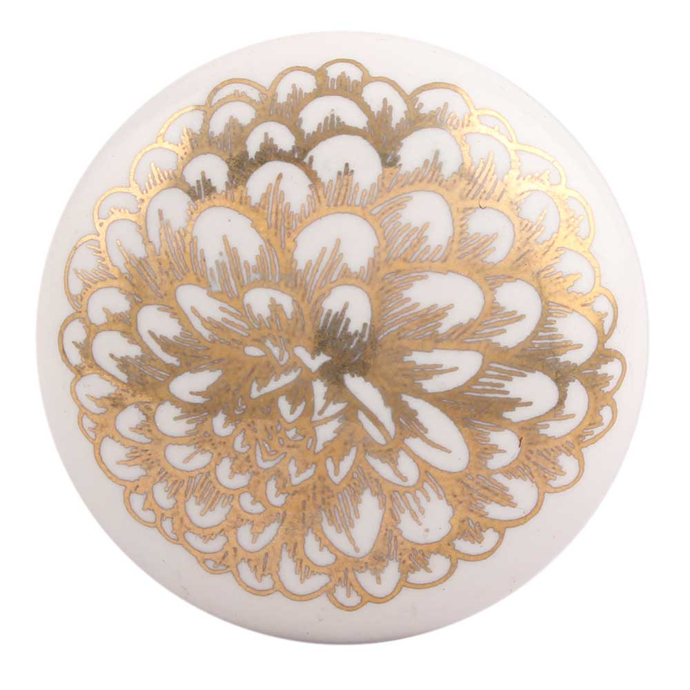 Golden Carnation Flower Flat Ceramic Drawer Knob