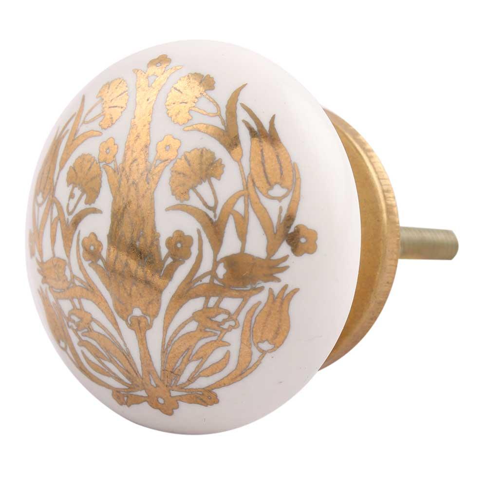 Golden Calla Lily Flower Flat Ceramic Dresser Knob