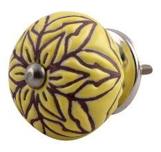 Brown Amarylis Floral Etched Ceramic Drawer Knob