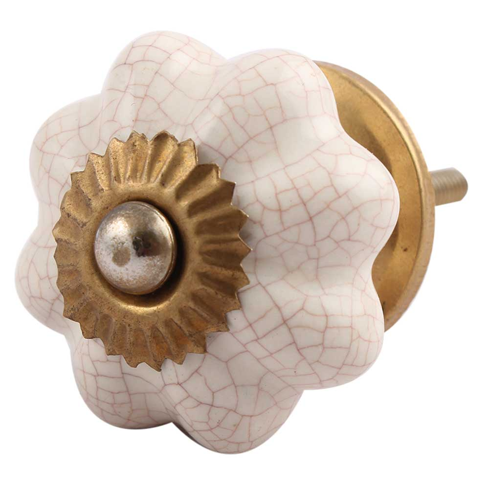 Cream Crackle Melon Drawer Knob