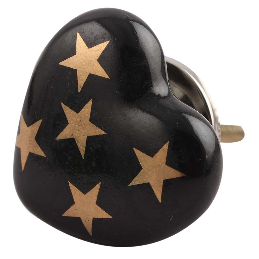 Golden Star Heart Ceramic Cabinet Knob