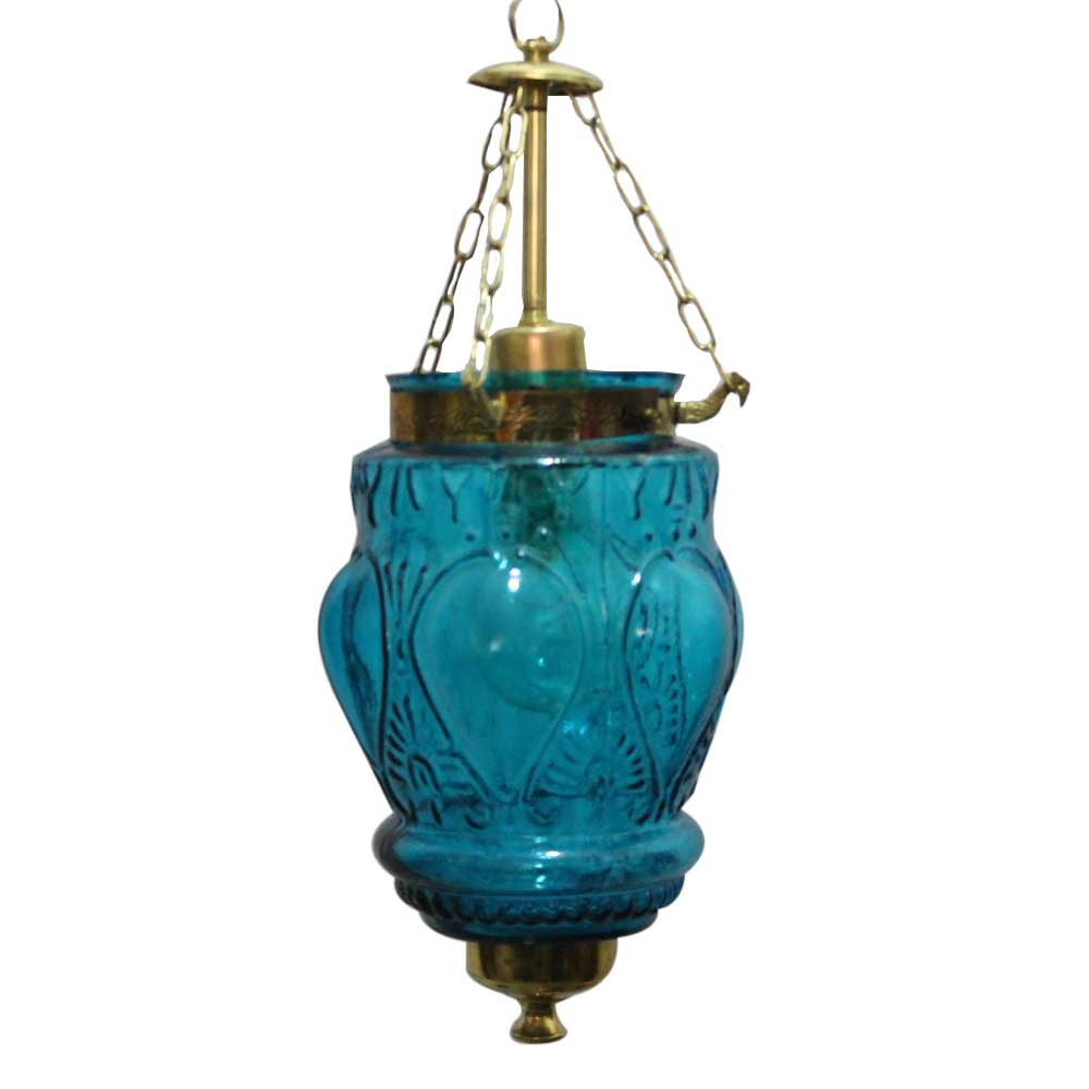 Turquoise Hanging glass light fixture Small Lamp