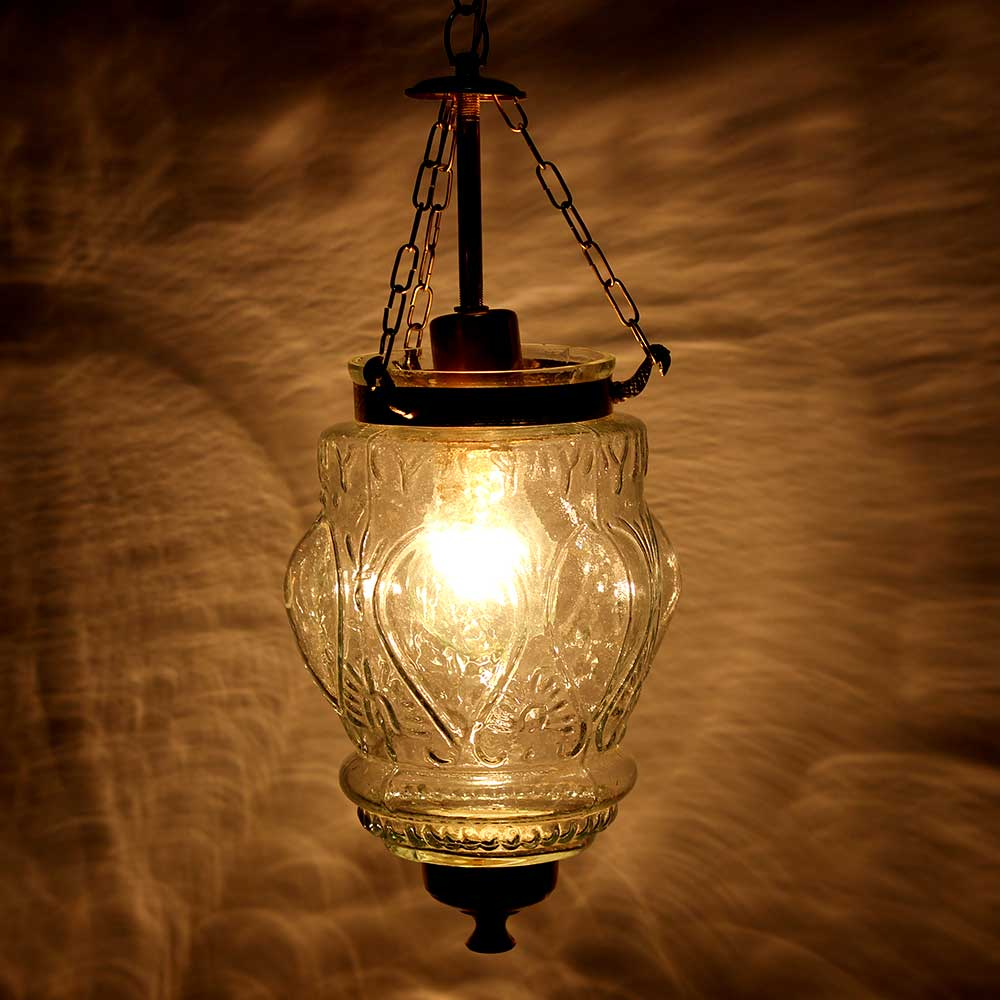 Clear Hanging glass light fixture Small Lamp