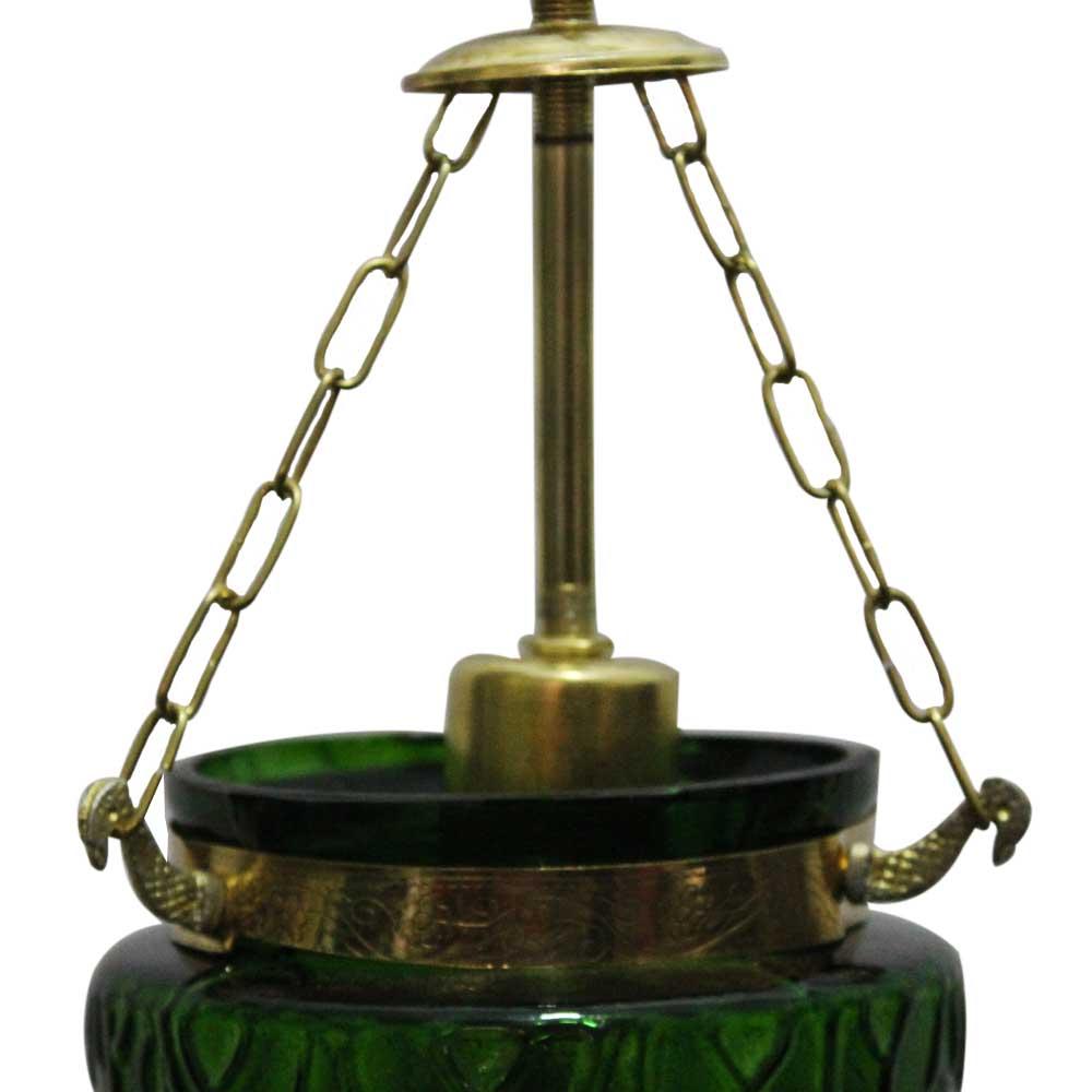 Green Hanging glass light fixture Small Lamp