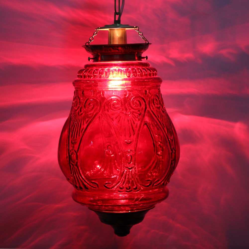 Red Hanging glass light fixture Big Lamp