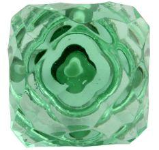 Green Glass Square Cut Cabinet Knob