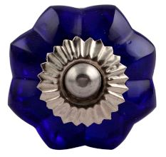 Navy Blue Small  Melon Glass Knob