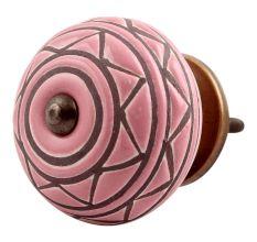 Pink Pattern Etched Ceramic Dresser Knob