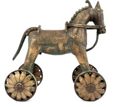 India Brass Temple Toy Horse on Wheels