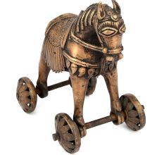 Brass Primitive Horse And Rider On Rolling Wheels