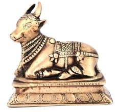 Holy Nandi Bull Figurine in Brass