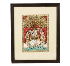 Framed Tree Flute Krishna Tanjore Painting 15