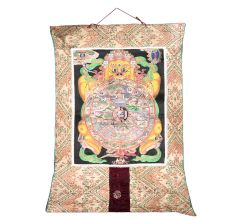 Old Tibetan Buddhist Wheel Of Life Thangka Painting