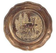Vintage Brown Deer in forest Tray Dish 23 Cm in Aluminium