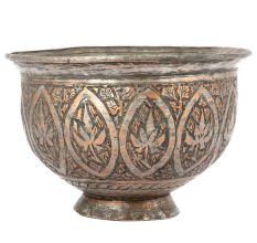 Vintage Copper  Footed Bowl Hand Engraved