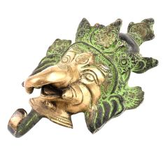 Brass Patina Ganesha Face Wall Hooks