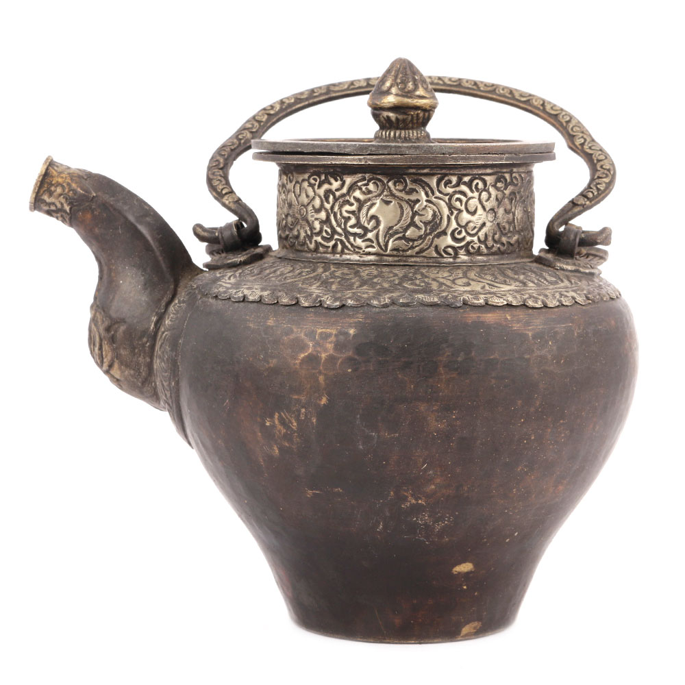 Bronze Tea Pot with Indian Patterned Engraving