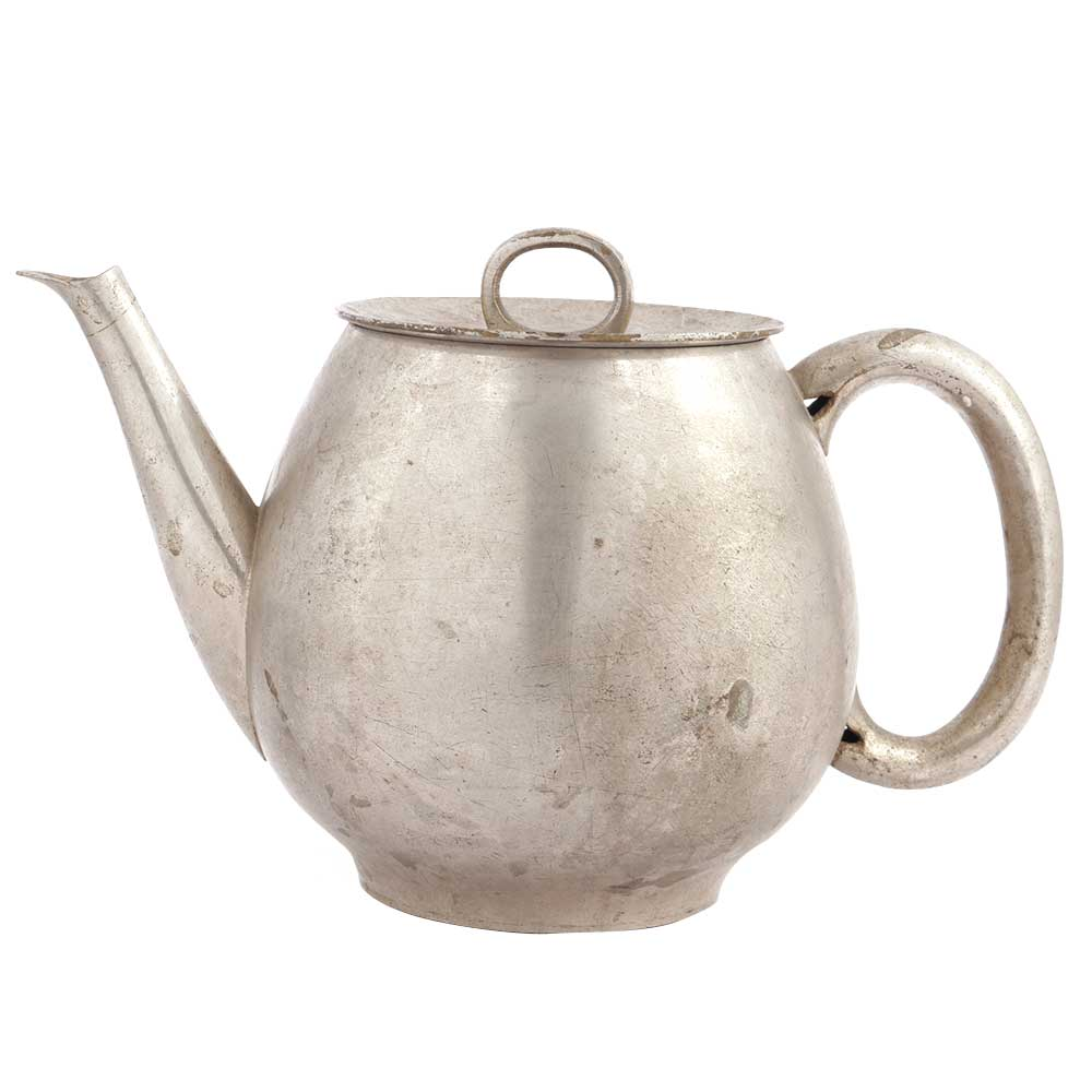 Hand Crafted Nickel Plated Brass Teapot Kettle