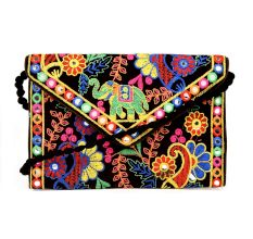 Black Embroidered Colorful Banjara Clutch