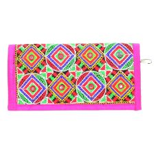 Pink Geometrical Patterened Embroidered Clutch purse