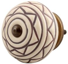 Cream Brown Pattern Etched Ceramic Cabinet Knob