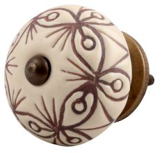 Cream Brown Floral Etched Ceramic Dresser Knob Online