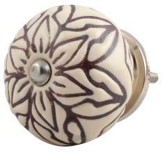 Cream Amarylis Floral Etched Ceramic Cabinet Knob