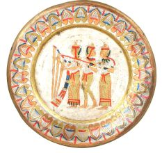 Vintage Egyptian Musicians Painted Brass Plate