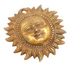 Handmade Sun Design Brass Wall Hanging
