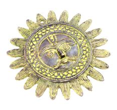 Brass Sun Wall Hanging With Patina