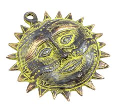 Wall Hanging Sun Brass Metal With Patina