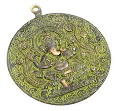 Brass Lord Ganesha On Plate Wall Hanging