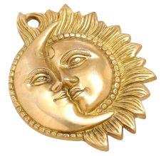 Brass Sun Moon Half Face Wall Sculpture