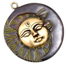 Brass Sun Moon Half Face Wall Sculpture With Patina