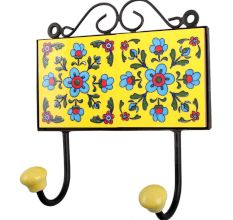 Yellow Turquoise Flower Tiles Hook