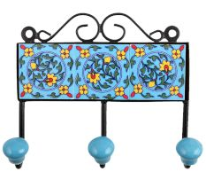 Turquoise Yellow Floral Tiles Hooks