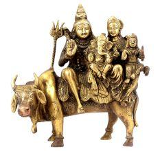 Shiva Family Seated on Holy Nandi Bull Brass Figurine