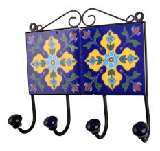 Navy Blue Yellow Floral Tiles Hooks