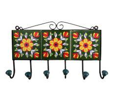 Forest Green Yellow Floral Tiles Hooks