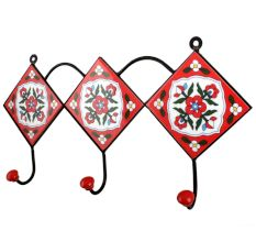 Red White Floral Tiles Hook