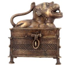 Tribal Lion Brass Jewellery Box