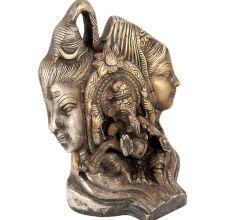 Brass Shiv Parvati with Ganesha Statue